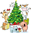 farm animals celebrate Christmas under the tree - vector image