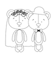 teddy bear couple groom and bride icon image vector image