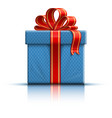 Blue gift box with a bow vector image vector image
