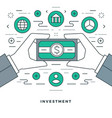 flat line business management and investment vector image