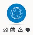 globe icon world travel sign vector image
