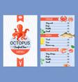 Seafood bar menu flat poster vector image