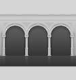 classic roman antique interior with stone arches vector image