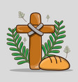 catholic cross with palm branches and bread vector image
