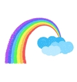 Coloful Rainbow With Clouds vector image