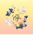 happy easter inscription surrounded by decorated vector image