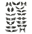 Heraldic black wings icons set vector image