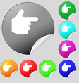 pointing hand icon sign Set of eight multi-colored vector image