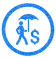 walking banker under umbrella rounded grainy icon vector image