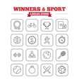 Winners and sport linear icons set Thin outline vector image