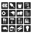 Black Construction and Building Icon Set vector image
