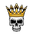 King skull in royal gold crown vector image vector image