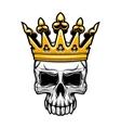 King skull in royal gold crown vector image