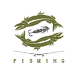 design template of vintage fishing emblem vector image