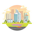 cityscape with skyscrapers in a round frame - vector image