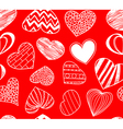 Seamless background of hearts on red vector image