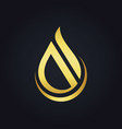 water drop abstract shape gold logo vector image