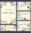 wedding invitation design set save the date rsvp vector image