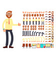 Young male businessman character with gestures set vector image