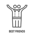 Best friends line icon vector image