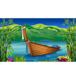 A boat near the bamboo plant vector image vector image