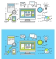 Thin Line SEO icons vector image