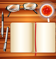 Notebook and ice tea on table vector image