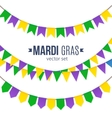Mardi Gras traditional flags set isolated on white vector image
