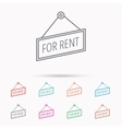 For rent icon Advertising banner tag sign vector image