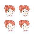 Beautiful woman showing various facial expressions vector image
