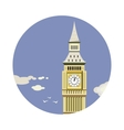 Big Ben tower closeup with clouds icon vector image