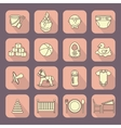 Child and baby care center flat icons with shadow vector image