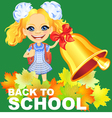 Smiling happy schoolgirl rings the bell vector image