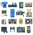 vintage technologies camera phone retro audio icon vector image
