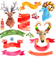 Watercolor beautiful Christmas collection vector image