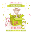 Baby Giraffe in a Box Baby Shower or Arrival Card vector image