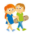 boy and girl are walking vector image