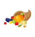 cartoon cornucopia horn of abundance harvest vector image