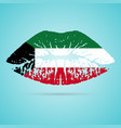 kuwait flag lipstick on the lips isolated on a vector image