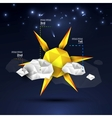 Origami sun and clouds design vector image