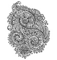 Traditional oriental floral black and white vector image