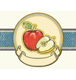Vintage apples label on old paper background vector image