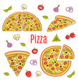 whole and slices pizza set hand drawn vector image