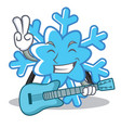 with guitar snowflake character cartoon style vector image