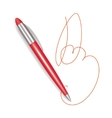 Write Red Plastic Pen Sign vector image