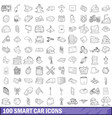 100 smart car icons set outline style vector image