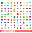 100 sewing icons set cartoon style vector image