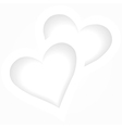 Two white hearts romantic background vector image vector image