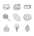 Linear icons for desserts vector image