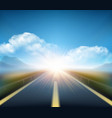 Blurred road and blue motion blurred sky with vector image